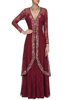 Wine Floral Embroidered Two Layered Gown by Swapan & Seema