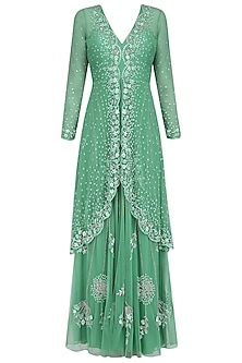 Green Floral Embroidered Two Layered Gown by Swapan & Seema