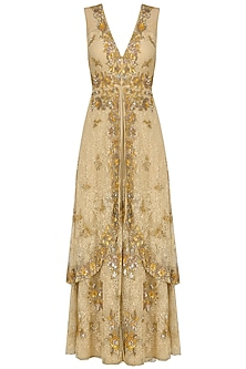 Beige Floral Sequins Embroidered Two Layered Gown