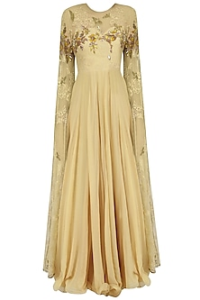 Beige and Gold Floral Embroidered Cape Sleeved Gown