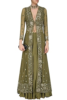 Olive Green Floral Embroidered Front Open Jacket and Skirt Set by Swapan & Seema