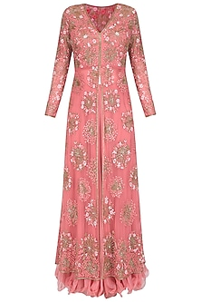 Pink Floral Sequins and Beads Embroidered Front Open Jacket and Skirt Set