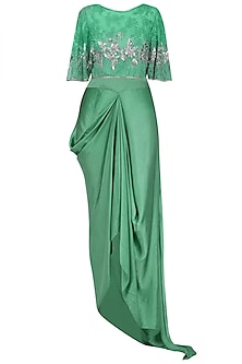 Emerald Green Floral Thread and Sequins Embroidered Circular Cape and Drape Skirt Set