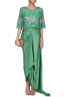 Emerald Green Floral Thread and Sequins Embroidered Circular Cape and Drape Skirt Set by Swapan & Seema