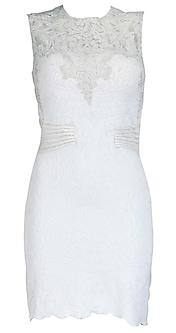White dress with applique yoke