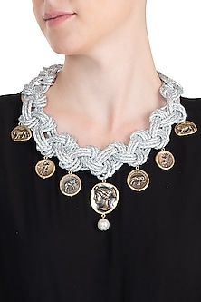 Silver plated coin necklace