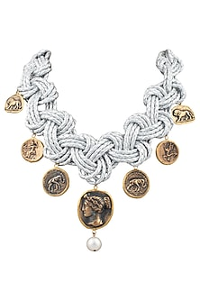 Silver plated coin necklace by BANSRI