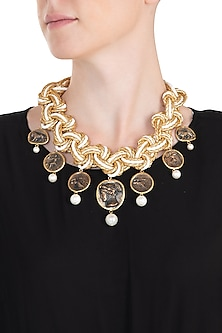 Gold plated pearl coin necklace