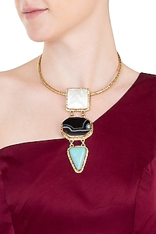 Gold plated safari aztec collar necklace