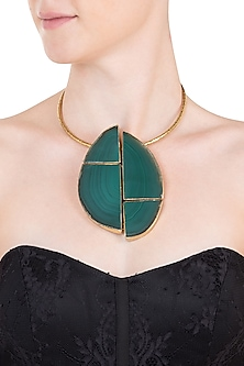 Gold plated emerald collar tribal necklace