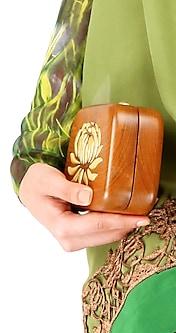 Lotus wooden clutch