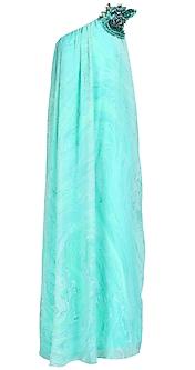 Aqua marble print one shoulder long dress