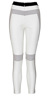 White jeggings with grey and black stripe