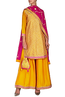 Yellow & Pink Embroidered Sharara Set by The Silk Tree