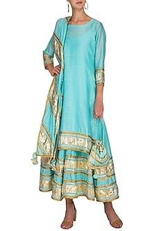Aqua Blue Embroidered Kurta With Anarkali Inner & dupatta by The Silk Tree
