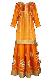 Burnt Orange Embroidered Lehenga Set by The Silk Tree