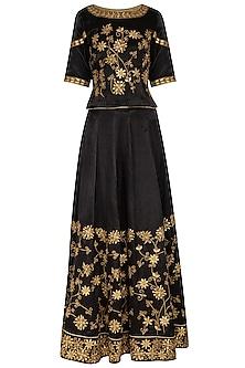 Black Embroidered Lehenga Set by The Silk Tree