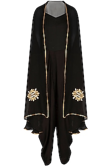 Black Jumpsuit With Embroidered Floral Cape by The Silk Tree