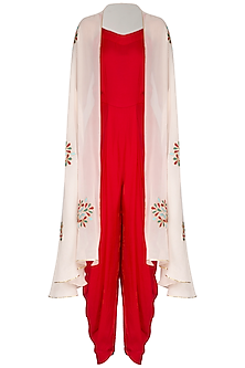 Red Jumpsuit With Ivory Embroidered Floral Cape by The Silk Tree