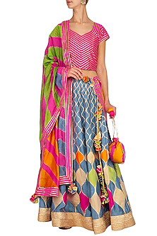 Multi Colored Embroidered Lehenga Set by The Silk Tree
