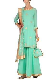 Mint Green & Burnt Orange Sharara Set by The Silk Tree