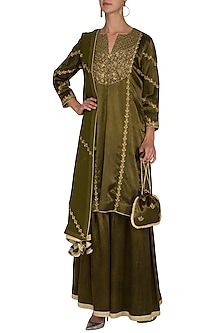 Camo Green Embroidered Gharara Set by The Silk Tree