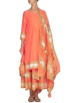 Peach Embroidered Kurta With Anarkali Inner & Dupatta by The Silk Tree