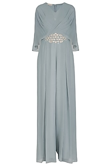 Pebble Green Embroidered Jumpsuit by Seema Thukral