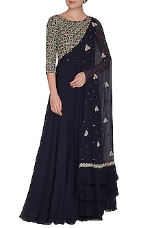 Midnight Blue Embroidered Gown With Attached Dupatta by Seema Thukral