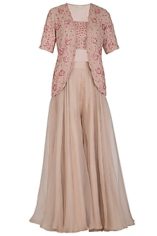 Ecru Embroidered Top With Jacket & Pants by Seema Thukral