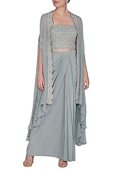 Pebble Green Embroidered Top With Jacket & Skirt by Seema Thukral