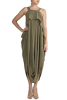 Khadi Green Pleated Strappy Dress by Stephany