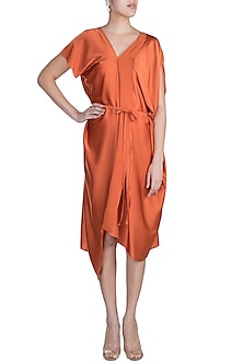 Apricot Font Panelled Dress With Belt by Stephany
