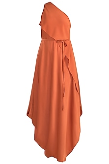 Apricot Paneled One Shoulder Dress With Belt by Stephany