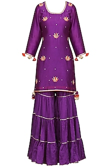 Purple Gota Patti Embroidered Kurta with Gharara Pants Set