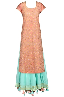 Peach Embroidered Kurta with Aqua Blue Lehenga Skirt Set