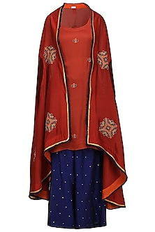 Red Embroidered Asymmetrical Cape with Tunic and Palazzo Pants