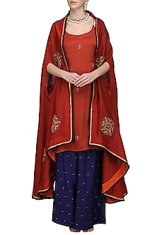Red Embroidered Asymmetrical Cape with Tunic and Palazzo Pants by The Silk Tree