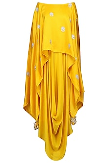 Mustard Yellow Embroidered Asymmetrical Cape with Drape Dress