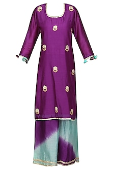 Purple Embroidered Kurta with Ombre Pants Set