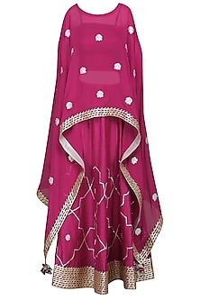Maroon Embroidered Asymmetrical Cape with Bustier and Lehenga Skirt