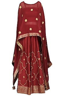 Ruby Pink Embroidered Asymmetrical Cape with Bustier and Lehenga Skirt