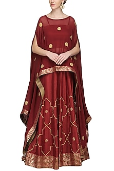 Maroon Embroidered Asymmetrical Cape with Bustier and Lehenga Skirt by The Silk Tree