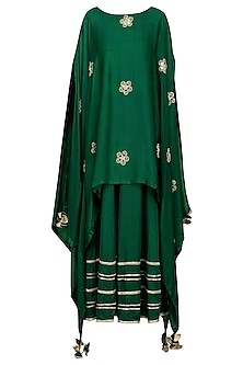 Dark Green Asymmetrical Embroidered Cape with Maxi Dress