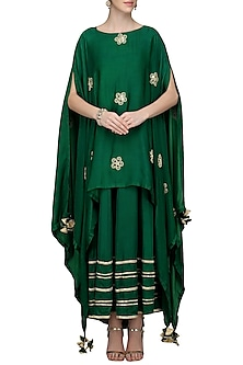 Dark Green Asymmetrical Embroidered Cape with Maxi Dress by The Silk Tree