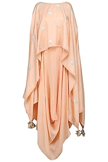 Peach Embroidered Asymmetrical Cape with Drape Dress by The Silk Tree