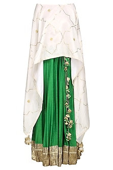 Ivory Embroidered Asymmetrical Cape with Green Lehenga Skirt by The Silk Tree