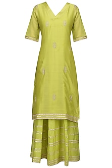 Lime Green Embroidered Anarkali Gown Set