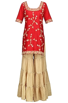 Red Embroidered Kurta with Gold Gharara Pants Set
