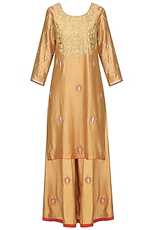 Gold and Red Embroidered Kurta with Sharara Pants Set